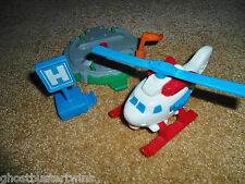 FISHER PRICE GEOTRAX RESCUE HELICOPTER PLANE PAD TRACK RAILROAD TRAIN SET LOT