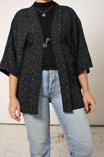 Vintage Japanese Haori Kimono in Black Spotty Print