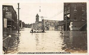 H43/ North Topeka Kansas RPPC Postcard 1908 Kansas Ave Flood Disaster Boat