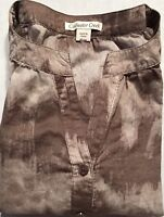 Coldwater Creek Womens Top Brown 1/4 Button 3/4 Sleeve Size XS B084