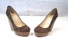 CHRISTIAN LOUBOUTIN Coroclic Leopard Pony Hair Wedge Platform High Heel SIZE 36