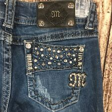 Miss Me Jeans Studs Crystals Buckle Exclusive Boot Cut Sz 26 X 29.5 Petite