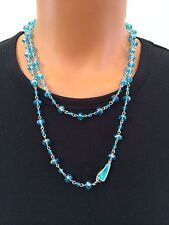 Mythologie Sparkling Crystal Blue Turquoise Color Long Necklace w/ Shell Detail