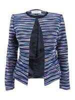 Tahari ASL Women's Petite Striped Jacquard Blazer (6P, Rose/Navy/Black)