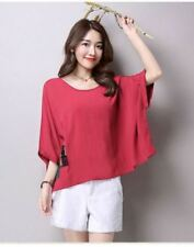 Linen Patch Loose Red Blouse #A990