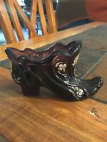 Vintage Fenton Art Glass Victorian Amethyst Shoe Hand Painted & Signed  ***RARE