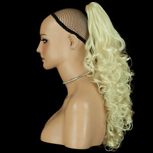 """Ponytail Claw Clip Lightest Blonde Curly 22"""" Heat Resistant Synthetic Hairpiece"""