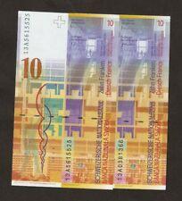 More details for 2 x 2013 switzerland 10 franken unc p67d ( 2 ) and p67e ( 3 )  first prefix