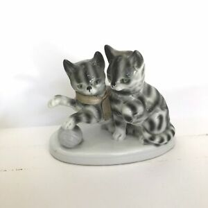 "Vintage 4"" Pair of Tabby Gray Cats on Oval Base German Germany Porcelain PM & M"