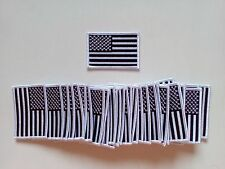 "50 USA American Flag (Black/White) Embroidered Patches 3""x2"" iron-on"
