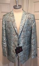 Men Leonardi Blazer Light Blue & Brown Paisley Print Design Size 3XL=US Size 46