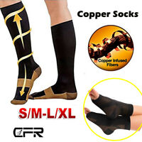 Copper Compression Socks Medical Graduated Ankle Support Brace Plantar Fasciitis