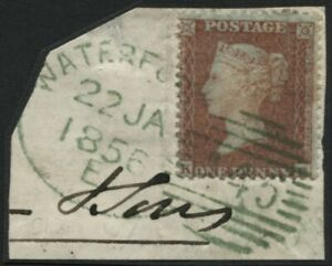 SG24 1d Red Brown plate 12 KE tied to piece with Waterford bright Green duplex,