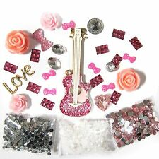 DIY 3D Bling Cell Phone Case Deco Kit:Guitar and Floral Cabochons with Rhineston