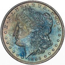 1896-P MORGAN SILVER DOLLAR VIBRANT BLUE GEM COLOR TONED BU UNC VIVID (MR)