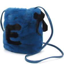 ERMANNO Ermanno Scervino women's designer fashion chic blue fur Bucket bag Purse