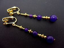 A PAIR PURPLE JADE BEAD GOLD TONE EXTRA LONG DANGLY CLIP ON EARRINGS. NEW.