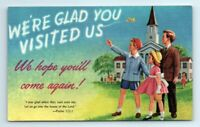We're Glad You Visited Us Church Thank You Postcard Unposted Bible Verse Kids