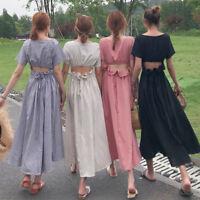The new Sweet Waist  Backless Lolita Dress short sleeve dress One piece#KU626
