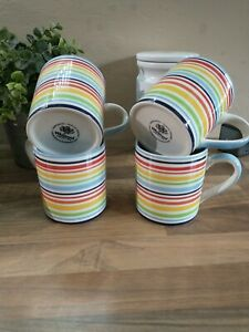 Whittard of Chelsea Hand Painted Colourful Striped Mug Set of 4