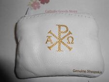 Chi Rho - White Genuine Sheepskin Leather Rosary or Chaplet Pouch with Lining