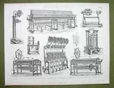 CORD & THREAD Making Machines Carpet Rope Winding Lace - 1870s Print Engraving