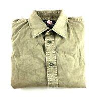 Affliction Mens Beige Long Sleeve Button Front Shirt Size Medium