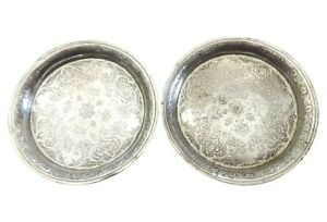Superb Middle Eastern 800/900Fine  Coin silver Ornate Dishes S/2