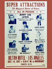 "Eddie Cochran / Jerry Lee Lewis Hilton WOW 16"" x 12"" Photo Repro Concert Poster"