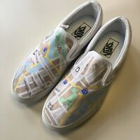 Vans SlipOn White Sneakers Tennis Shoes M-9, W-10.5 hand painted Phila city map