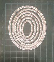 Brand New 6 Stitched Edge Nesting Oval Framelit Metal Die Cutter Uk Seller