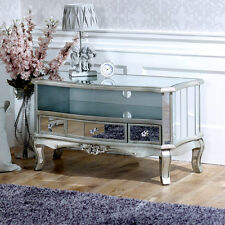 Mirrored vintage style TV cabinet unit shabby french chic living room furniture