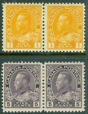 CANADA : 1911-25. Scott #105, 112 pairs. Mint OGH. Very Fresh. Catalog $130.00+