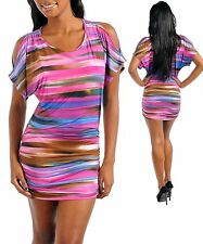 M08 -S/Small- Pink/Multi Colores,Striped,Stretch Mini Dress
