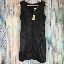 M.S.S.P. MAX STUDIO A0505 Small Braid Trim Black Faux Leather Party Dress