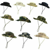 Mens Camo Boonie Bucket Hat Military Wide Brim Safari Cap Hunting Sun Fishing US