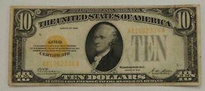 1928 - $10 Gold Certificate - Woods / Mellon - Circulated