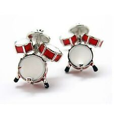 Drum Set Cufflinks Drummer Gift Band Rock N Roll + Box & Cleaner
