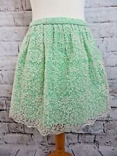 "ZARA lined white lace skirt short small 8 10 waist 28"" green lining 100% cotton"