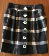 MAD CORTES Brown Cream Tartan Wool Blend A-Line Faux Horn Button Lined Skirt 12
