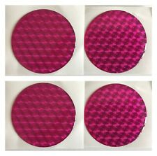 ALLOY WHEEL CENTRE CAP STICKERS DOMED RESIN X4 GIRLY PINK HOLOGRAM 60mm All Size