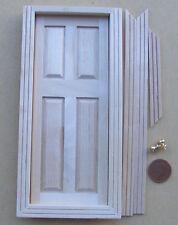 1:12 Scale Single Wooden 4 Panel Door & 2 Brass Knobs Dolls House DIY Accessory