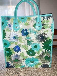 Vintage Mod Flowered Semi Clear Vinyl Tote Bag 1960s-70s  Flower Power