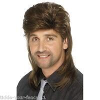 High Quality Mens 80s Brown Mullet Wig Rock Roll Retro Fancy Dress Pop Star Fun
