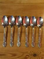6 x Oneida Flirtation Silver Plate 1959  Desert Spoons 18.5cm