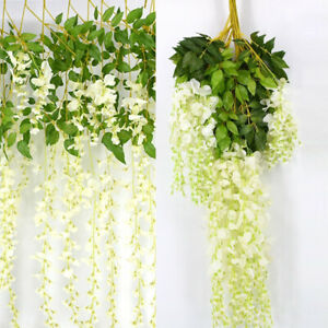 12pcs Realistic Foliage Ivy Trailing Vine Flowers Hanging Plant Leaf Garlands UK