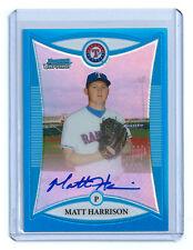 2008 BOWMAN CHROME MATT HARRISON RC BLUE REFRACTOR AUTO #86/150 RANGERS