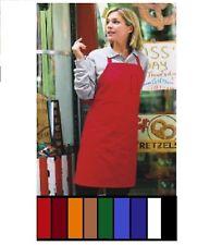 1 new reversible bib apron no pocket red, black , white, brown, orange 9 colors