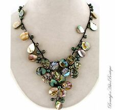 Womens Resort Shell Abalone Mother of Pearl Fresh Water Beach Necklace Lariat