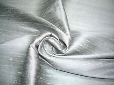 SILVER GRAY 100% PURE SILK DUPIONI FABRIC BTY DRESS CRAFT COSTUME DRAPE